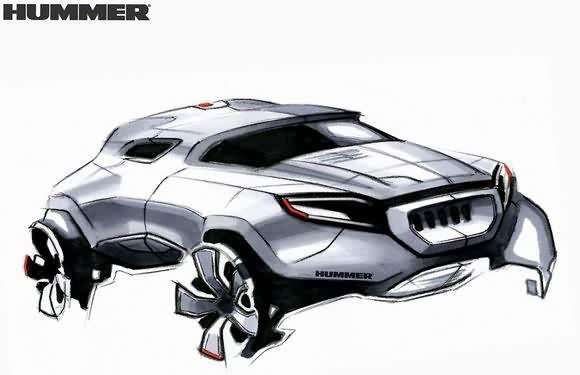 悍马h手绘图-01; 悍马h手绘图; 发未来汽车设计师灵感(2)