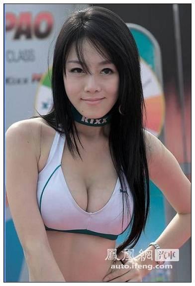 丰满娇柔韩国美女 短发车模内衣外露 (19)